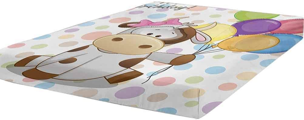 LCGGDB Kids Birthday Fitted mart Sheet Twin Cow Milwaukee Mall Size Baby and Animal