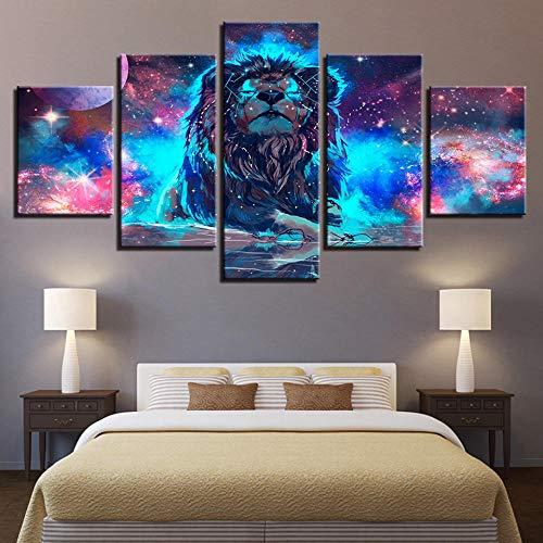 rkmaster Kunstdrucke auf Leinwand, Wandbild, 5 Stück, bunt, abstrakt, Nebel, Löwen, Sternbild, Bild, Wohnzimmer Dekoration