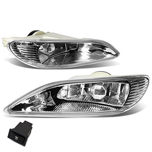 Pair of Clear Lens Bumper Driving Fog Lights + Wiring Kit + Switch Replacement for Toyota Camry 02-04 Corolla 05-08 Solara 02-03
