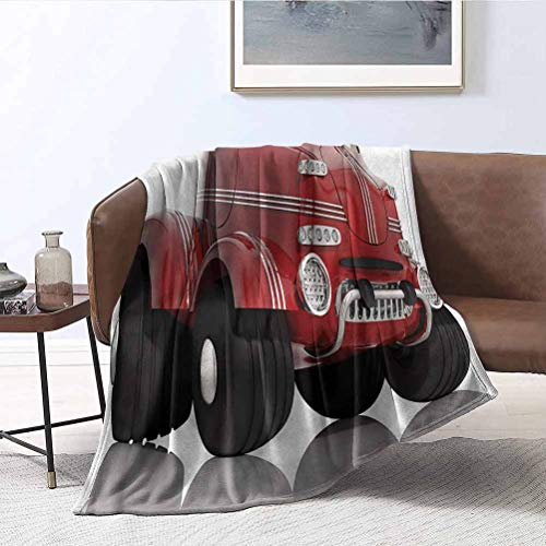 ParadiseDecor Cars Plush Blankets Realistic Kids Toy Design Microfiber Blankets for Bed Couch Chair Living Room 50x70 Inch