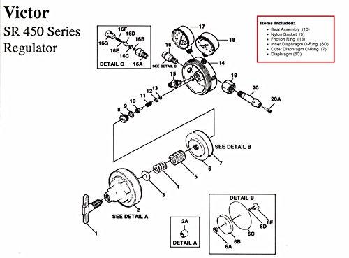 GSParts Victor SR450D Oxygen Regulator Rebuild/Repair Parts Kit w/DIAPHRAGM