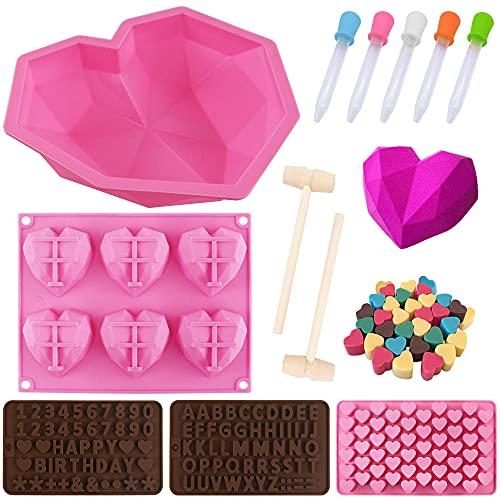 12 moldes para tartas con forma de corazón, moldes de silicona para chocolate, con martillos de madera, cuentagotas y números, para hacer manualidades (rosa)