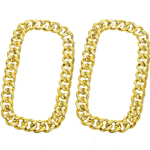 meekoo 2 Pieces Faux Gold Chain Acrylic Chain Necklace Hip Hop Necklace Rapper Fake Gold Chain for Hip-Hop Artist or Band Member Costume Accessory, 31.5 Inches