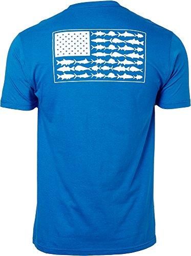 Columbia PFG Americana Saltwater Fish Flag T-Shirt (Vivid Blue, Medium)