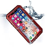 Compatible iPhone X Case, Waterproof Cell Phone Case for Apple Phone 10 with Stand, Shockproof Military Grade Heavy Duty Silicone with Screen Protector Full Body Rugged Armor Metal Cover Red