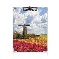 フォルダーボードフォルダーライティングボード 風車の装飾 事務用品の文房具 (2パック)豊富なヨーロッパのフィールドフローラ田舎屋外雲ミル素朴な家多色