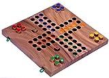 LOGOPLAY Ludo Gr. L - Würfelspiel - Gesellschaftsspiel - Familienspiel aus Holz mit klappbarem Spielbrett