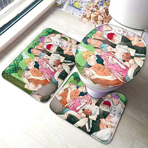 Set di 3 tappetini da bagno morbidi antiscivolo per il bagno, tappetino per il contorno e coperchio del WC, tappetino assorbente, tappetino antiscivolo
