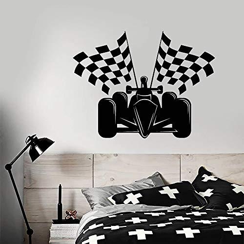 zhuzhuwen Gras Stickers Voor Muren Lampforest Muursticker Vinylauto Racing Formule 1 Auto Racing Vlaggen Thuis Spelen Fashio 57X74Cm