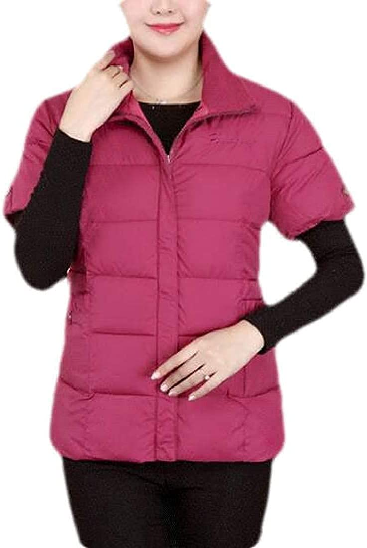 Women Short Sleeve Quilted Down Jacket Winter Gilet Down Vest