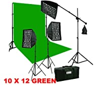 ePhotoInc HoneyComb Grid ソフトボックス フォトビデオスタジオブームスタンド 3200K ウォーム照明キット & 10 x 12 グリーン背景スタンドキット HGD2-1012G 3200K