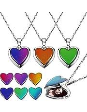 4 Collares Medallón de Humor de Corazón Collar Sentimiento Cambiante Color de Colgante Corazón Collares de Acero Inoxidable en Forma de Corazón para Regalos de Cumpleaños de Mujeres de San Valentín