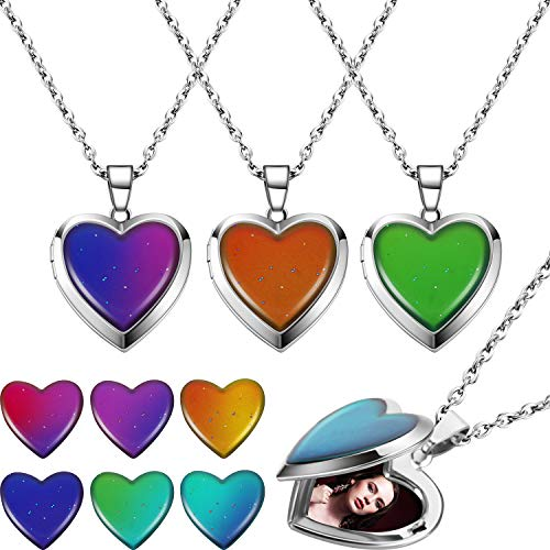 4 Pieces Heart Mood Locket Necklace for Girls Stainless Steel Color Changing Love Shape Mood Necklace Birthday Gift Valentine