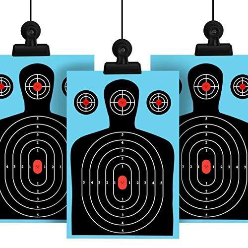 Licini Paquete de 10 objetivos de tiro 12 * 18 pulgadas silueta pobre salpicadura objetivos de papel reactivo Rifle fluorescente pistola Airsoft Pellet Gun