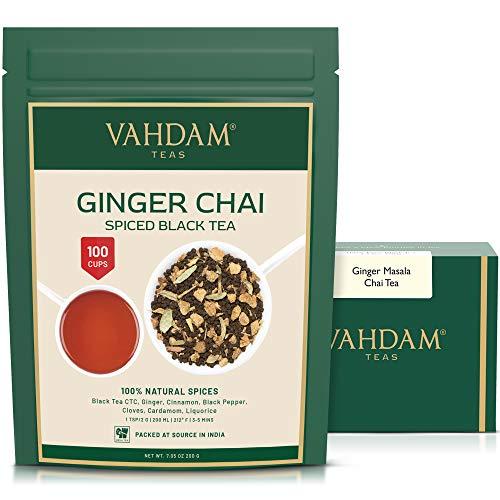 VAHDAM, Ginger Chai Tea, Set da2 (100g, 100 tazze) | 100% SPEZIE NATURALI | Tè indiano autentico di Chai allo zenzero | Brew Hot Tea, Iced Tea o Chai Latte | tisana zenzero | Ginger Tea Dall India