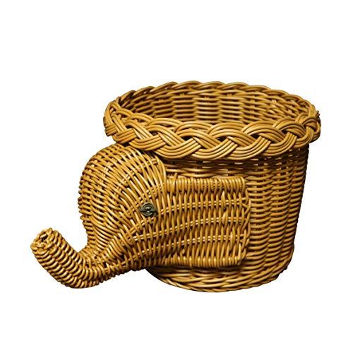 CVHOMEDECO. Cesta de mimbre de imitación con diseño de elefante, cesta de almacenamiento para frutas, cesta de mimbre artificial, para plantas, color marrón claro, 11-1/2 pulgadas