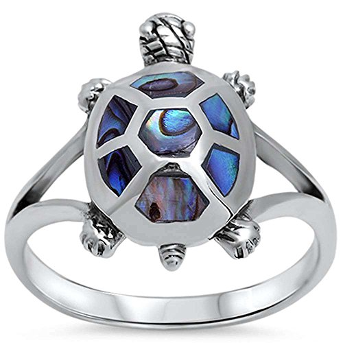 Oxford Diamond Co Abalone Turtle Design .925 Sterling Silver Ring Sizes 5-11
