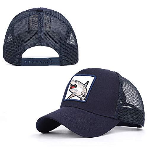 Creamon Cappello da Baseball in Maglia Ricamo Animali, Unisex Cappello da Baseball in Maglia Regolabile Ricamo Animali Cappello Casual Shark
