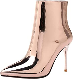 Themost Boots Stiletto Ankle Boot Pointed Toe Leather Shoes Side Zipper Ankle Heels Bootie
