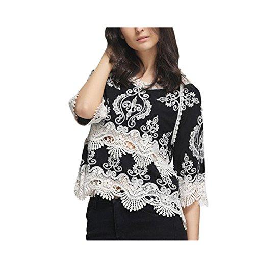 VENMO Mode Frauen Spitze Patchwork Harf Hülse Bluse Beiläufige Spitzen T Shirt Strand-Kittel (XL, Black)