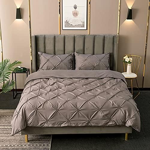 Bettbezug und Kissenbezu Deckenbezug Einfarbig Microfaser Bettdeckenbezug Bettwaesche Bettgarniture Bettwäsche-Set mit Quetschfalten (Grau, 220x240cm)