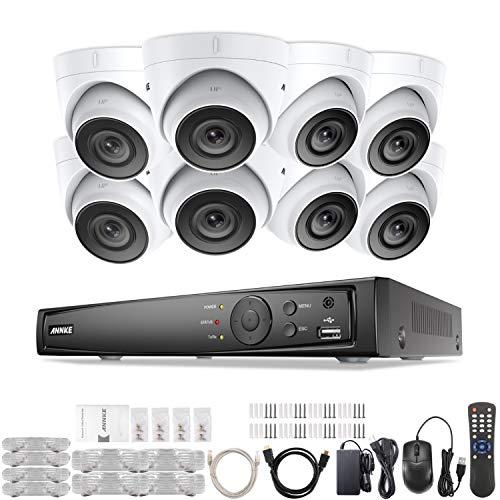 ANNKE PoE 6MP NVR 8 Canali Sistema di Sicurezza in Rete HD Compressione Video H.265 + 8 Telecamere HD 3MP Resistenti Alle Intemperie, Avviso push APP Remoto- Senza HDD