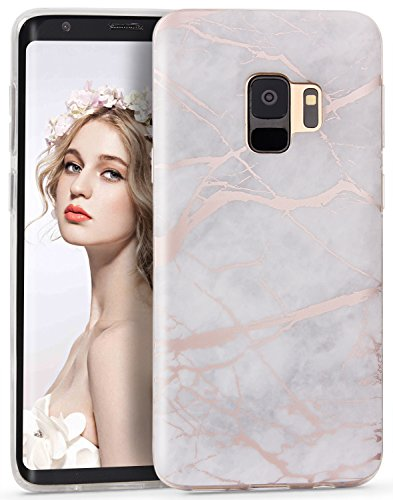 Imikoko Galaxy S9 Case Marble, Samsung Galaxy S9 Matte Slim Fit Soft TPU Case Cover Rubber Silicone Skin Bumper Shockproof Protective Case for Samsung Galaxy S9 5.8 Inch