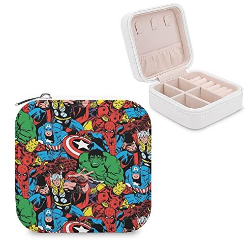 Vengadores Joyero de piel sintética portátil de viaje, para collar, pendientes, pulseras, anillos, relojes, caja de almacenamiento para joyas para mujeres