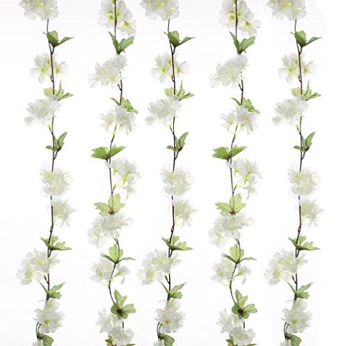 UUPP 2Pcs Artificial Cherry Blossom Flower Garland Silk Fake Hanging Flower Vines for Home Wedding Decoration, 7.2FT(White)