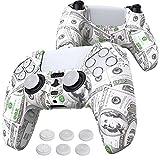 PlayVital Funda de Transferencia de Agua para Playstation 5 Mando Protector Antideslizante Carcasa de Silicona Estuche de Goma para PS5 Control con 6 Tapas de Joysticks para PS5(100$ Efectivo)