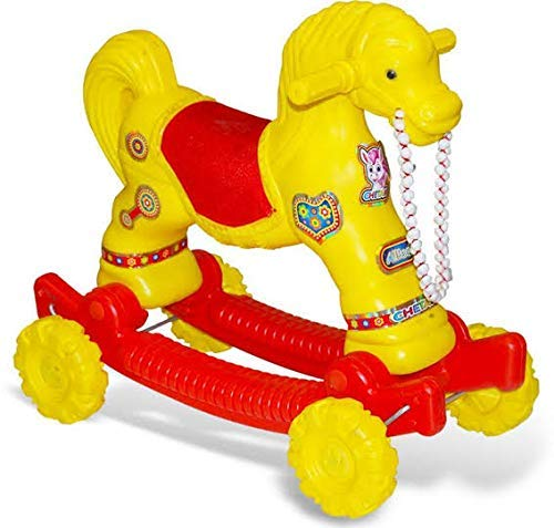 ZIMBLE Baby Horse Rider for Kids 1-1.5 Years Birthday Gift for Baby Horse Rider for Kids 1-1.5 Years Birthday Gift for Kids/Boys/Girls (Plastic,Yellow-Red)Pack of 1