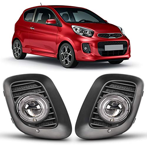 DLAA Fog Lights For KIA PICANTO 2016-2017 Fog Lamps Assembly Replacement Clear Lens OE Style H3-12V55W