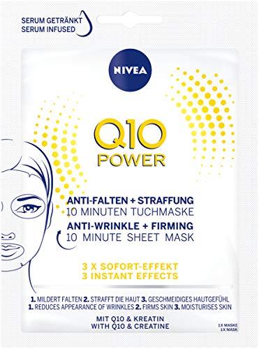 Nivea Q10 Power Anti-rimpel + versteviging 10 minuten doekmasker, verpakt per 5 stuks (5 x 1 stuks), gezichtsmasker met anti-rimpel effect, verstevigende gezichtsverzorging