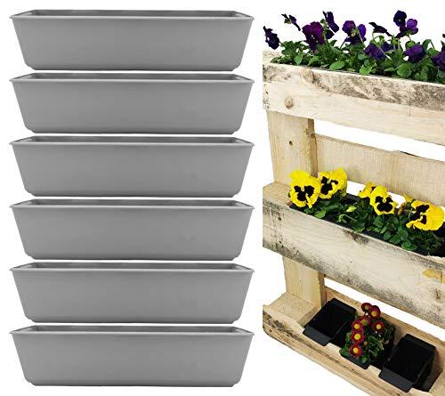 My-goodbuy24 Pflanzkasten für Paletten - 6 Stück - Blumenkästen Kunststoff Einsatz für Europlatten Deko Garten Pflanzschale - grau