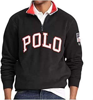 42530b7e Ralph Lauren Polo Men's Logo Graphic American Flag Fleece Long Sleeve  Pullover Sweater