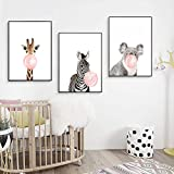 Nordic Ideas Set de 3 Posters Animaux Girafe Zèbre Koala Affiches Decoration Chambre...