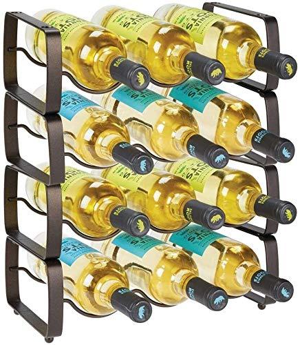 GLYYR Weinregal Metallstahl Freistehend 12 Flasche Modularer Weinregal Lagerung Organizer für Küchenarbeitsplatte, Tischplatte, Speisekammer, Kühlschrank - Halter für Wein, Bier, Pop/Soda, Wasser, S