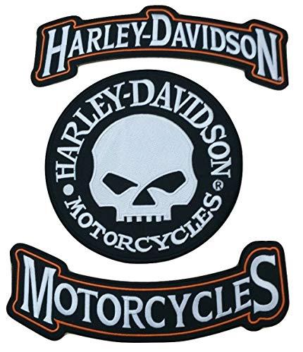 Harley Rockers Willie G. Skull Motorradjacke, Weste, Rückenaufnäher, groß, 3-teiliges Set