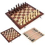 Tablero de ajedrez de madera, piezas de ajedrez hechas a mano, tablero de ajedrez, espacio de almacenamiento interno plegable, conveniente para viajar, piezas de ajedrez de madera adicionales en fie