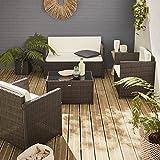 Muebles de jardín, Conjunto sofá de Exterior, Marrón Crudo, 4 plazas, Rattan sintético, Resina Trenzada - Perugia