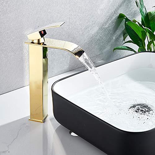 Onyzpily - Grifo para lavabo de baño con acabado dorado de arco alto, grifo de lavabo comercial, grifo mezclador de lavabo con un solo agujero de latón, monomando de lavabo