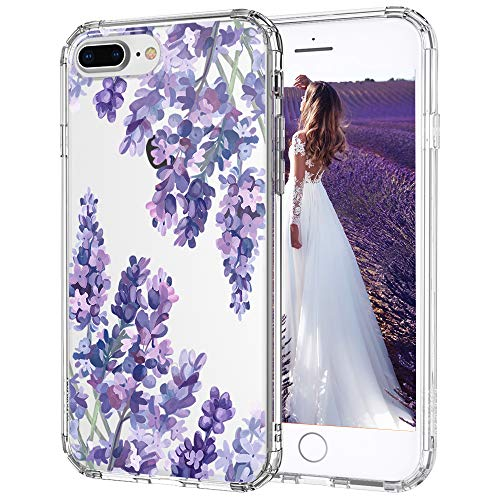 MOSNOVO Lavender Floral Flower Pattern Designed for iPhone 8 Plus Case/Designed for iPhone 7 Plus Case - Clear