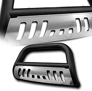 4X4TAG Premium Quality Matte Black Powder Coated Carbon Steel Bull Bar w/Brushed Skid Plate Fits Dodge Ram 1500 2009-2018 (Bumper Grille Guard with Skid Plate and Optional Light Holes)