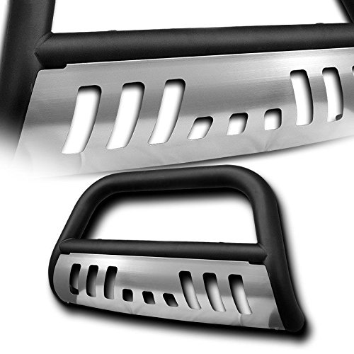 4X4TAG Premium Quality Matte Black Powder Coated Carbon Steel Bull Bar w/Brushed Skid Plate Compatible with Ford F150 2004-2018 (Bumper Grille Guard with Skid Plate and Optional Light Holes)