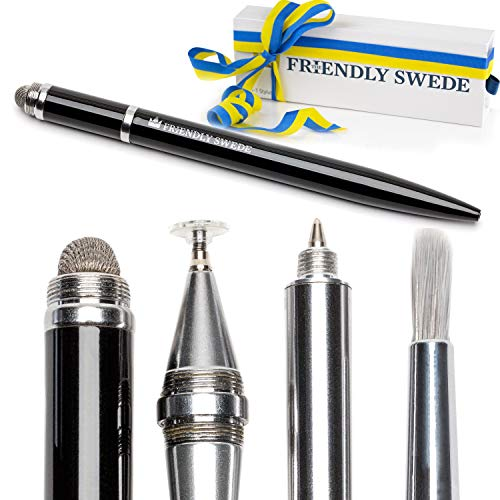Capacitive 4-in-1 Stylus Pen with Replaceable Brush, Fiber Tip, Precision Disc + Ballpoint Pen in Box, by The Friendly Swede