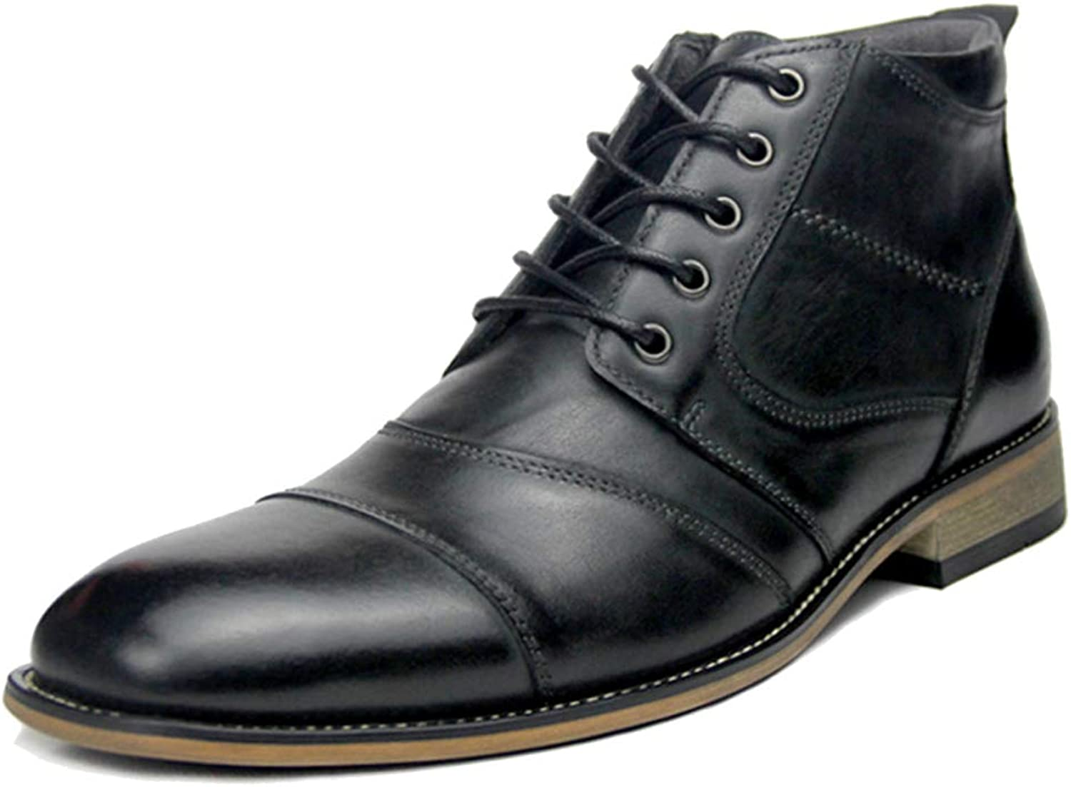 MERRYHE Men Pointed Toe Martin Boots Lace Up Side Zip Ankle Boot Formal Dress shoes Work Party Footwear Hiking Genuine Leather shoes