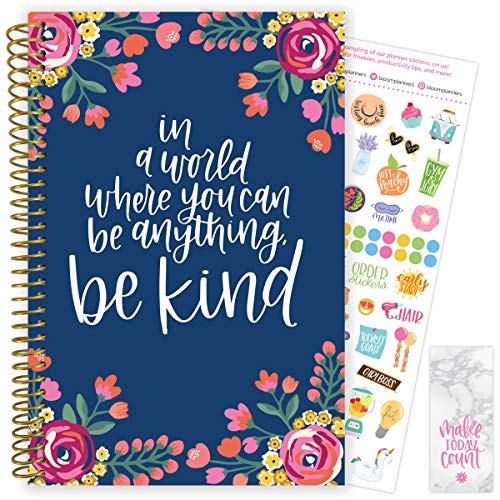 "bloom daily planners 2020-2021 Academic Year Day Planner & Calendar (July 2020 - July 2021) - 6"" x 8.25"" - Weekly/Monthly Agenda Organizer with Stickers and Bookmark - Be Kind"