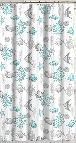 C.H.D Home Ocean Fish Fabric Shower Curtain: Grey and Turquoise Sea Life on White Background (Seaglass Green)