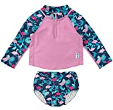 i play. by green sprouts Baby Clothing, Shoes & Jewelry Girls Rashguard Set with Built-in Absorbent Swim Diaper, Navy Flamingos, 24 Months