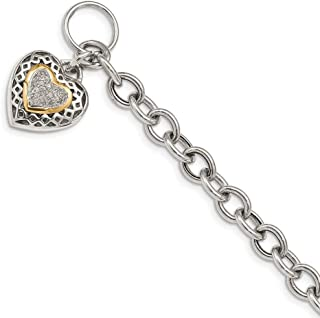 925 Sterling Silver 14k .10ct. Diamond 7.25in Bracelet 7.25 Inch/love Fine Mothers Day Jewelry For Women Gifts For Her